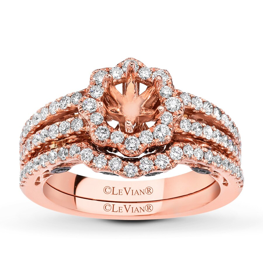 Jared Le Vian Bridal Setting 1 ct tw Diamonds 14K Strawberry Gold