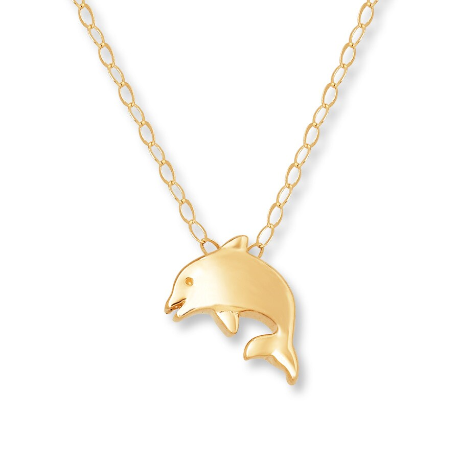 jared dolphin necklace 14k yellow gold
