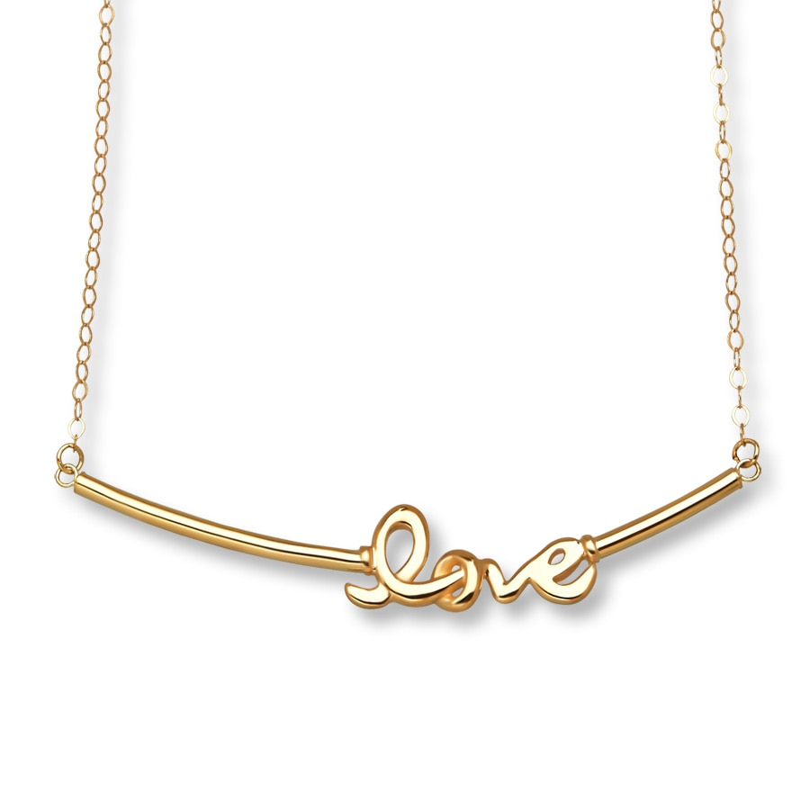 Jared Young Teen Love Bar Necklace 14K Yellow Gold