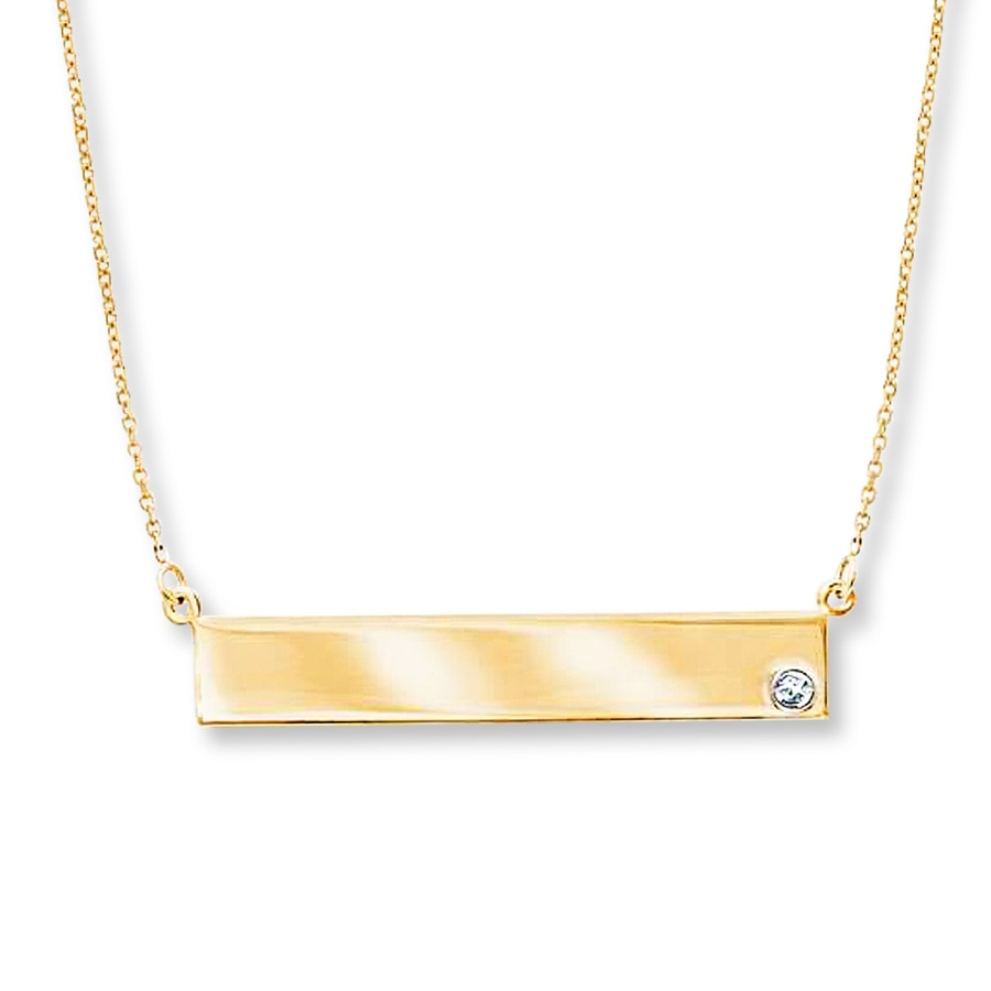 Bar Necklace Diamond Accent 14k Yellow Gold 713209601