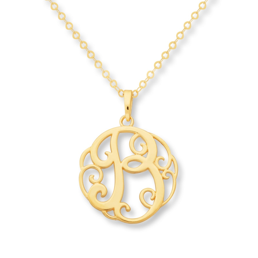 jared monogram necklace initial quot b quot 14k yellow gold