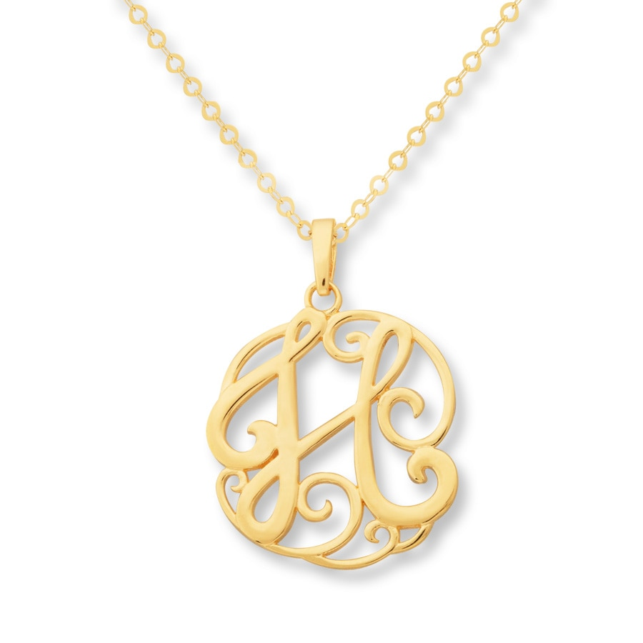 jared monogram necklace initial quot h quot 14k yellow gold
