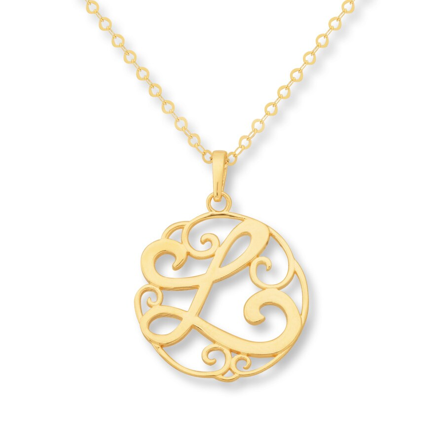 jared monogram necklace initial quot l quot 14k yellow gold