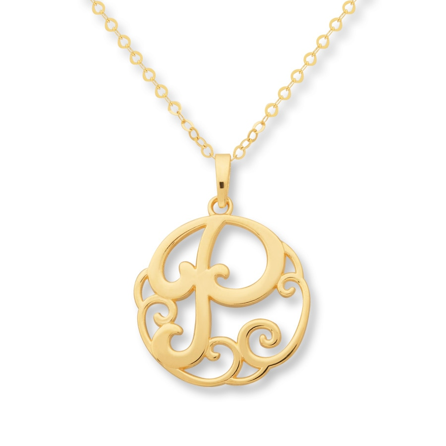 jared monogram necklace initial quot p quot 14k yellow gold