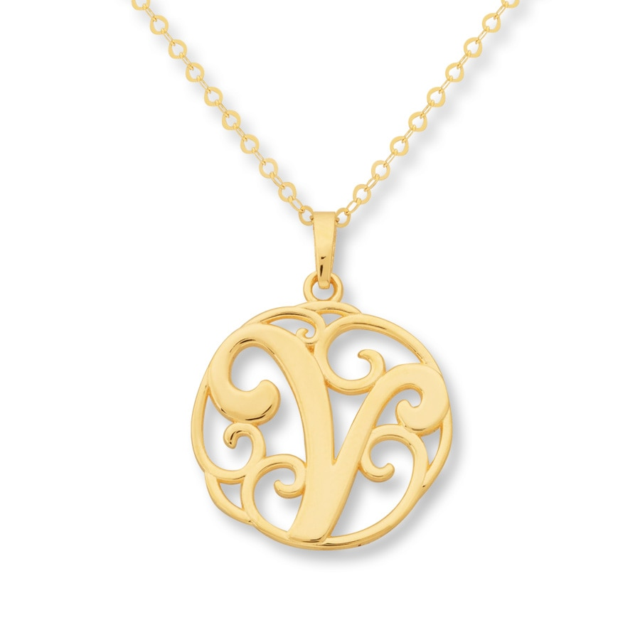jared monogram necklace initial quot v quot 14k yellow gold