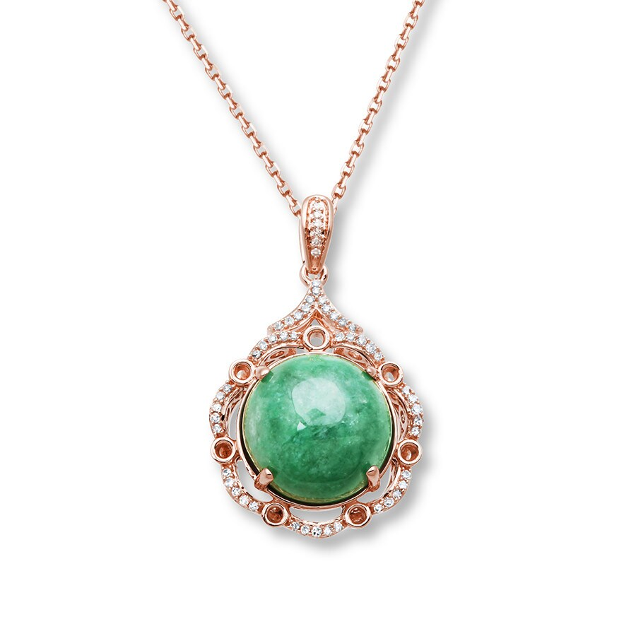 Jared Jadeite Necklace 16 ct tw Diamonds 14K Rose Gold