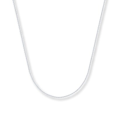 "Cable Chain Necklace 14K White Gold 16"" Length"