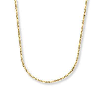 "Wheat Chain Necklace 14K Yellow Gold 16"" Length"