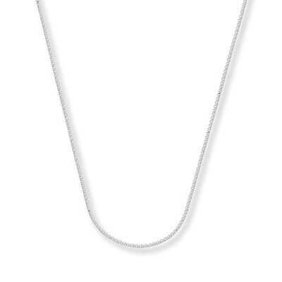"Wheat Chain Necklace 14K White Gold 24"" Length"