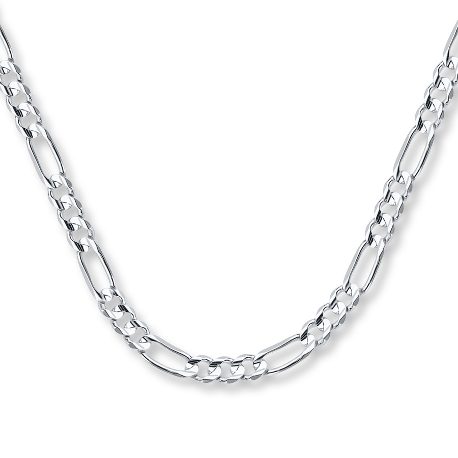 "White Gold Chain Bracelet: Men's Figaro Chain Necklace 14K White Gold 24"" Length"