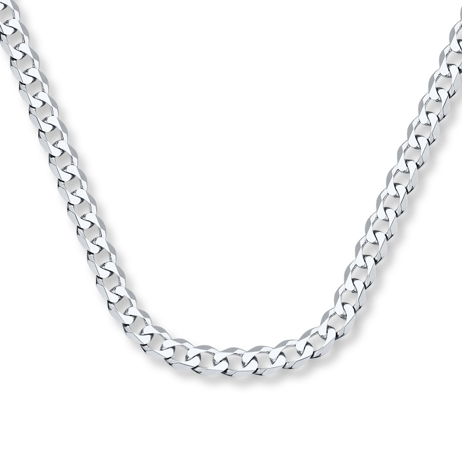 "White Gold Chain Bracelet: Men's Curb Chain Necklace 14K White Gold 24"" Length"