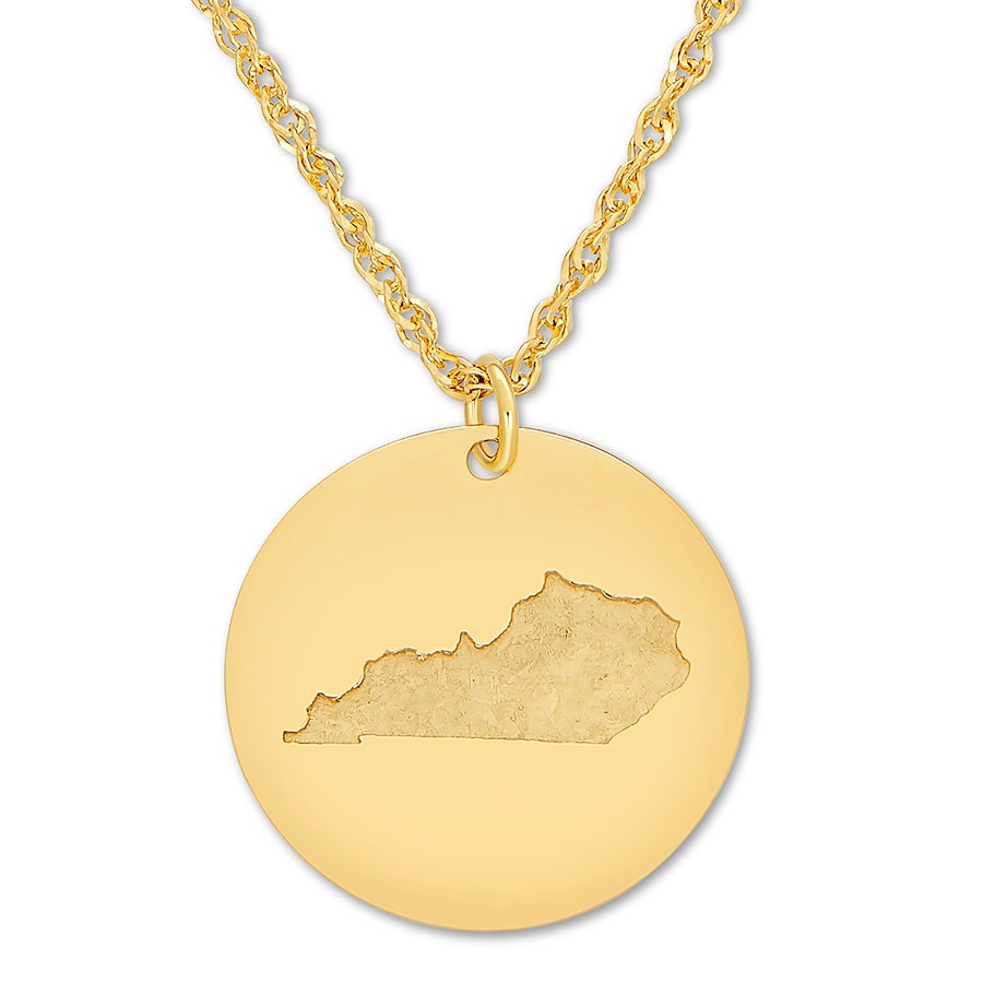 Jared kentucky disc necklace 10k yellow gold 17 adjustable for Jared jewelry lexington ky