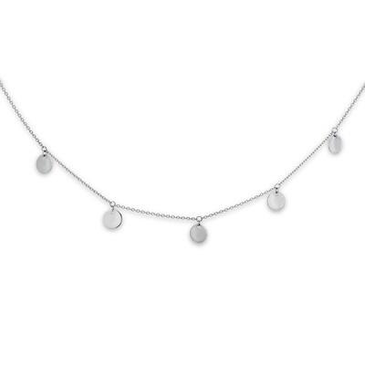 "Dangle Disc Choker Necklace 14K White Gold 14"" Adjustable"