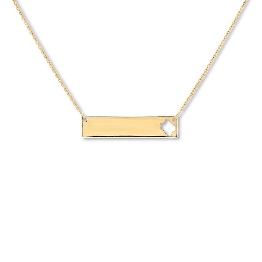 Jared texas bar necklace 10k yellow gold 16 18 adjustable for Jared jewelry lexington ky
