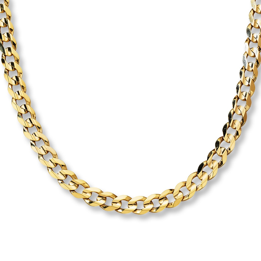 Jared Concave Curb Link Necklace 10K Yellow Gold 22 Length
