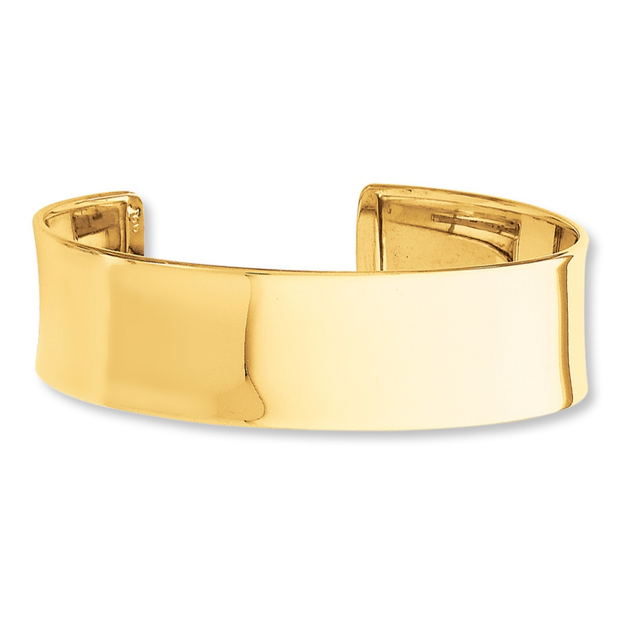 jared cuff bangle bracelet 14k yellow gold 7quot length