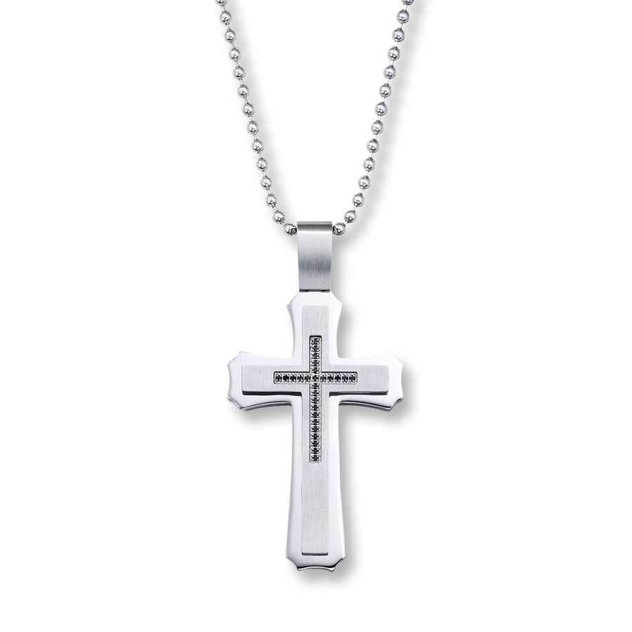 Mens cross necklace 16 ct tw black diamonds stainless steel tap to expand aloadofball