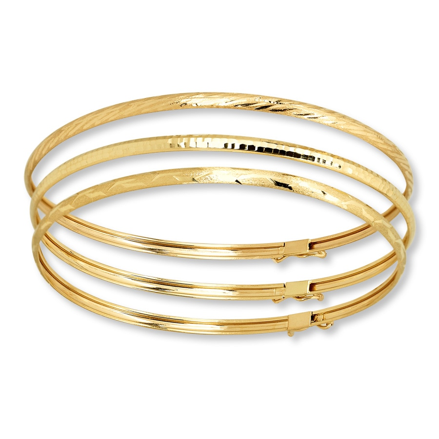Cuff Bangle Bracelet: Bangle Bracelet Set 10K Yellow Gold