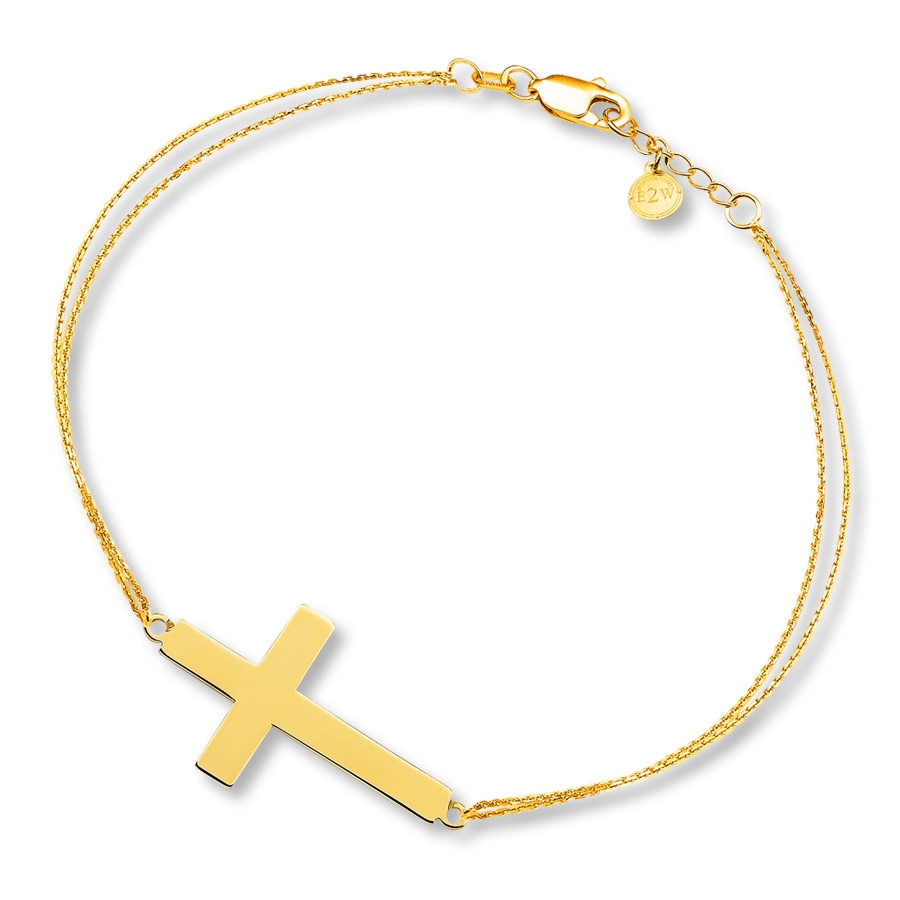 Sideways Cross Bracelet 14k Yellow Gold