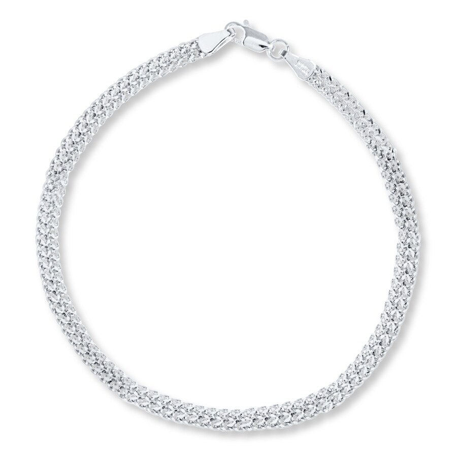 "White Gold Chain Bracelet: Bismark Chain Bracelet 14K White Gold 7.5"" Length"