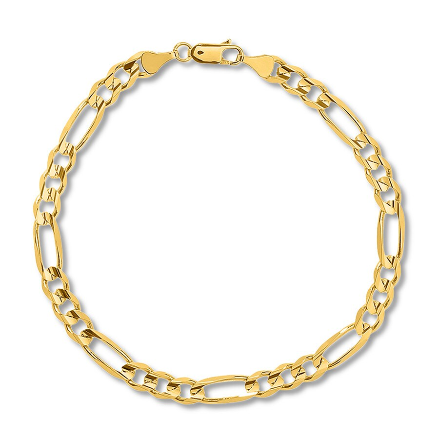 c30542331 Men's Figaro Link Bracelet 14K Yellow Gold 8.5