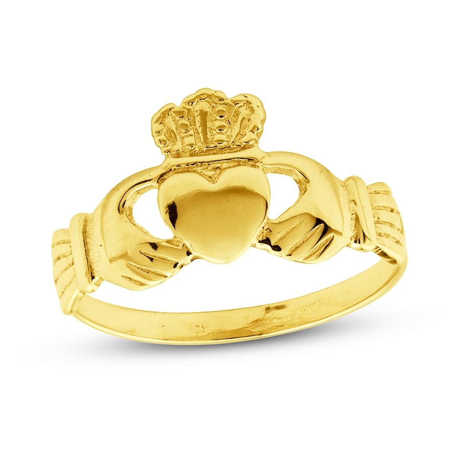 womens claddagh ring 14k yellow gold 73139910999 jared