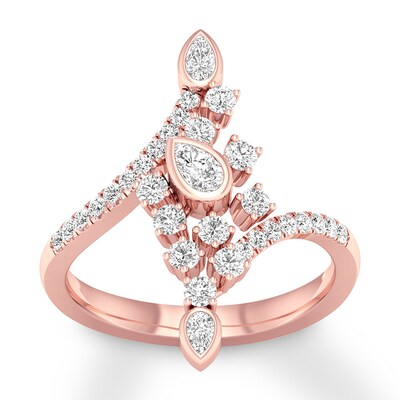 Diamond Ring 5/8 ct tw Pear-shaped/Round 14K Rose Gold
