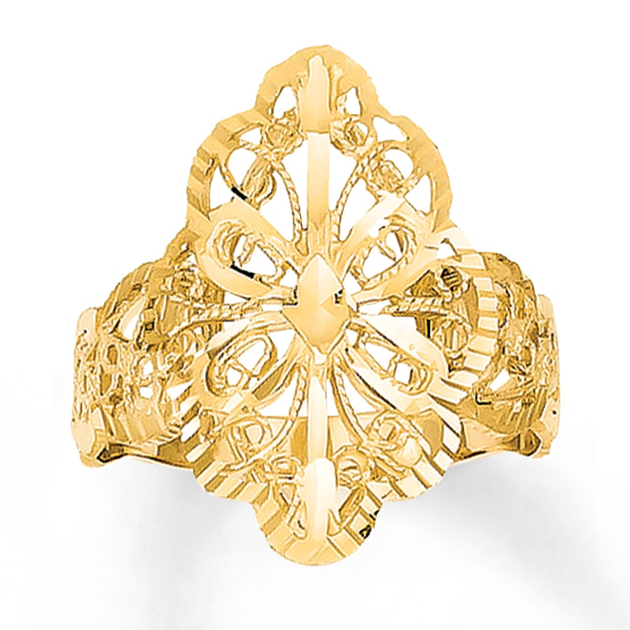 jared butterfly filigree ring 14k yellow gold