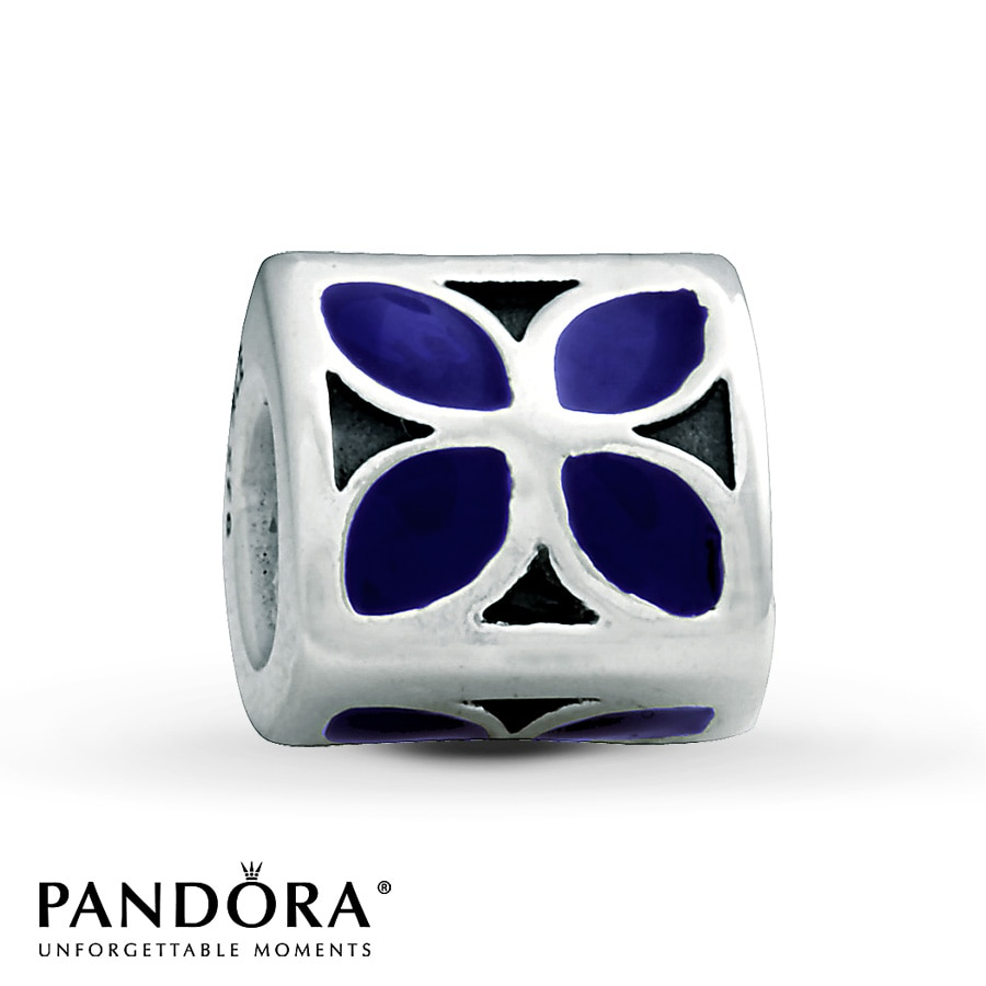 jared pandora flower charm purple enamel sterling silver