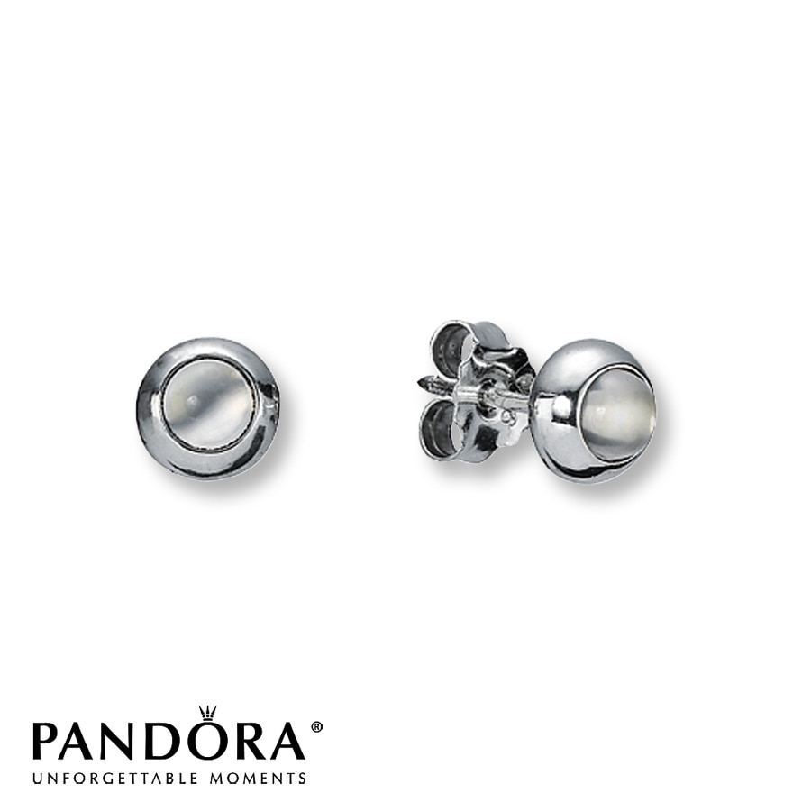 Pandora Earrings Silver: Pandora Stud Earrings Moonstone Sterling Silver