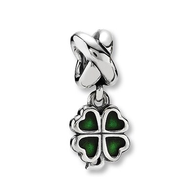 PANDORA Dangle Charm Green Enamel Clover Sterling Silver