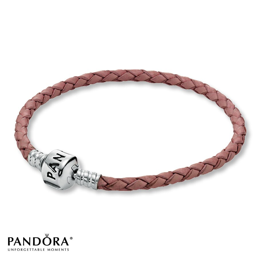 Jared PANDORA 81 Bracelet Pink Leather Sterling Silver