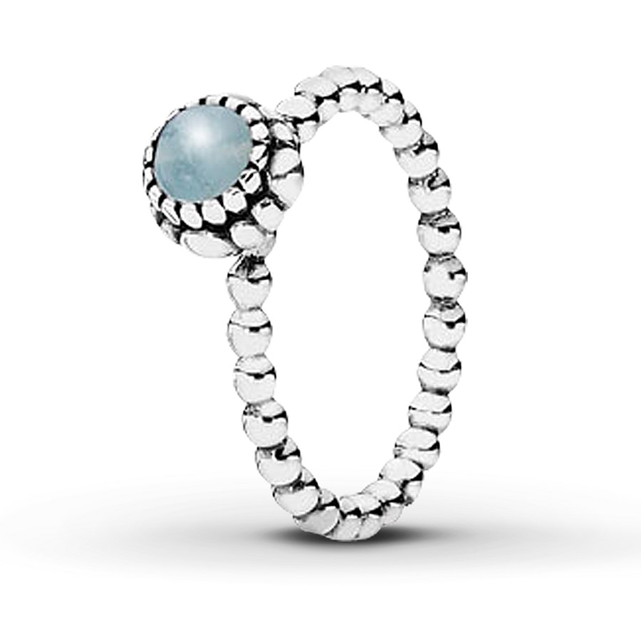 9d448fbeaaea1 PANDORA Birthstone Ring Aquamarine Sterling Silver - 80177440399 - Jared
