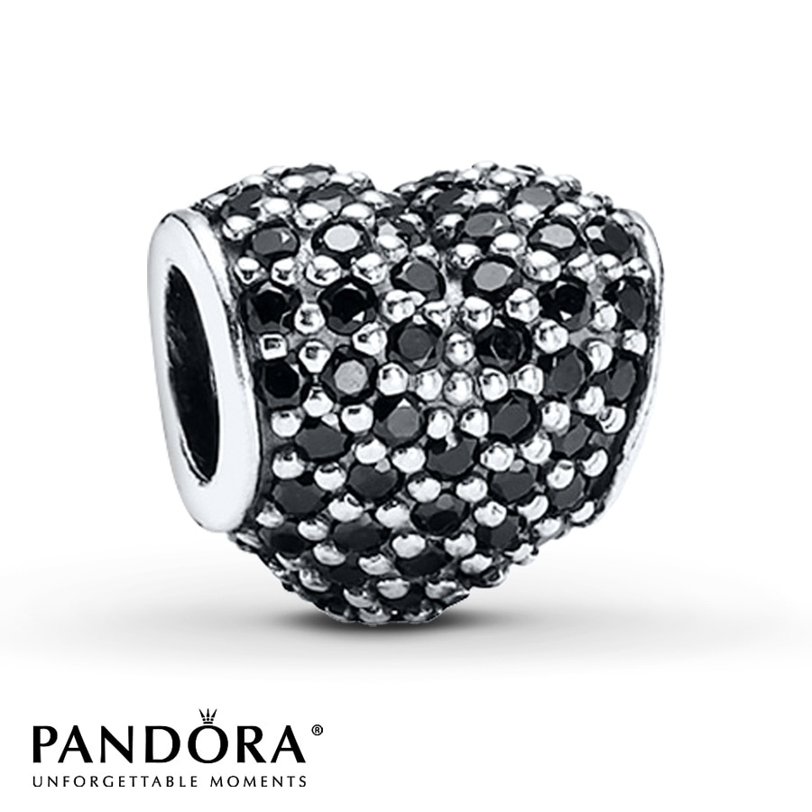 Jared PANDORA Charm Black Crystal Pav Heart Sterling Silver