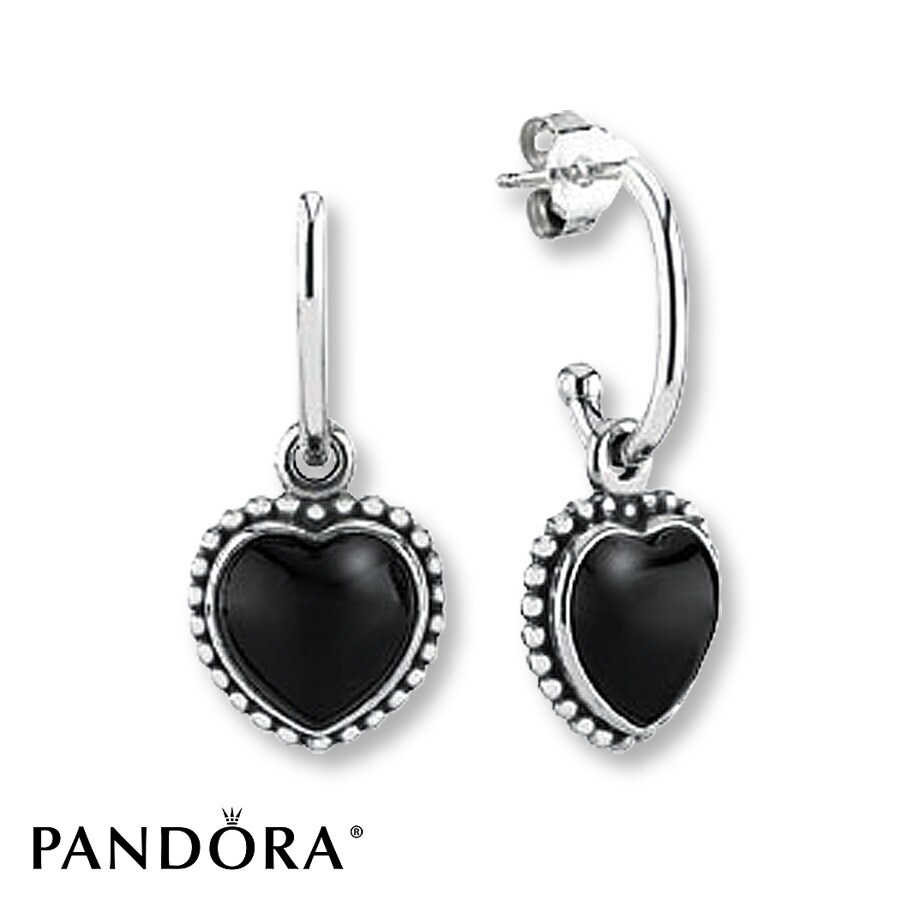 Pandora Earrings Silver: PANDORA Earrings Onyx Mi Amor Sterling Silver
