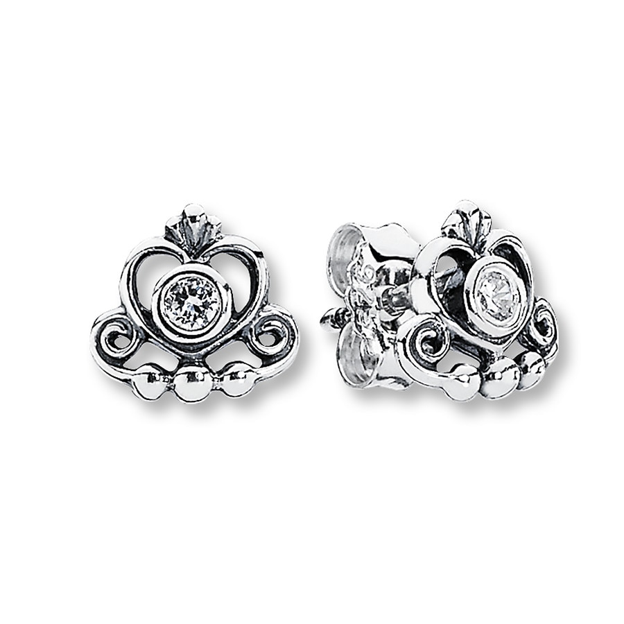 Pandora Silver Stud Earrings: PANDORA Stud Earrings My Princess Sterling Silver