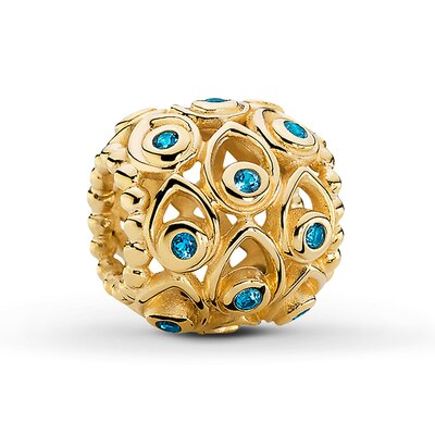 PANDORA Charm Blue Topaz 14K Yellow Gold- Beads