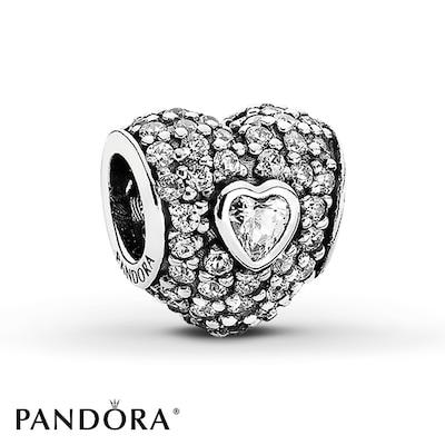 PANDORA Heart Charm Cubic Zirconia Sterling Silver- Additional Gemstones