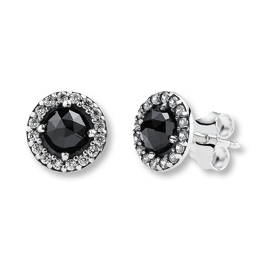PANDORA Earrings Black Spinel Sterling Silver