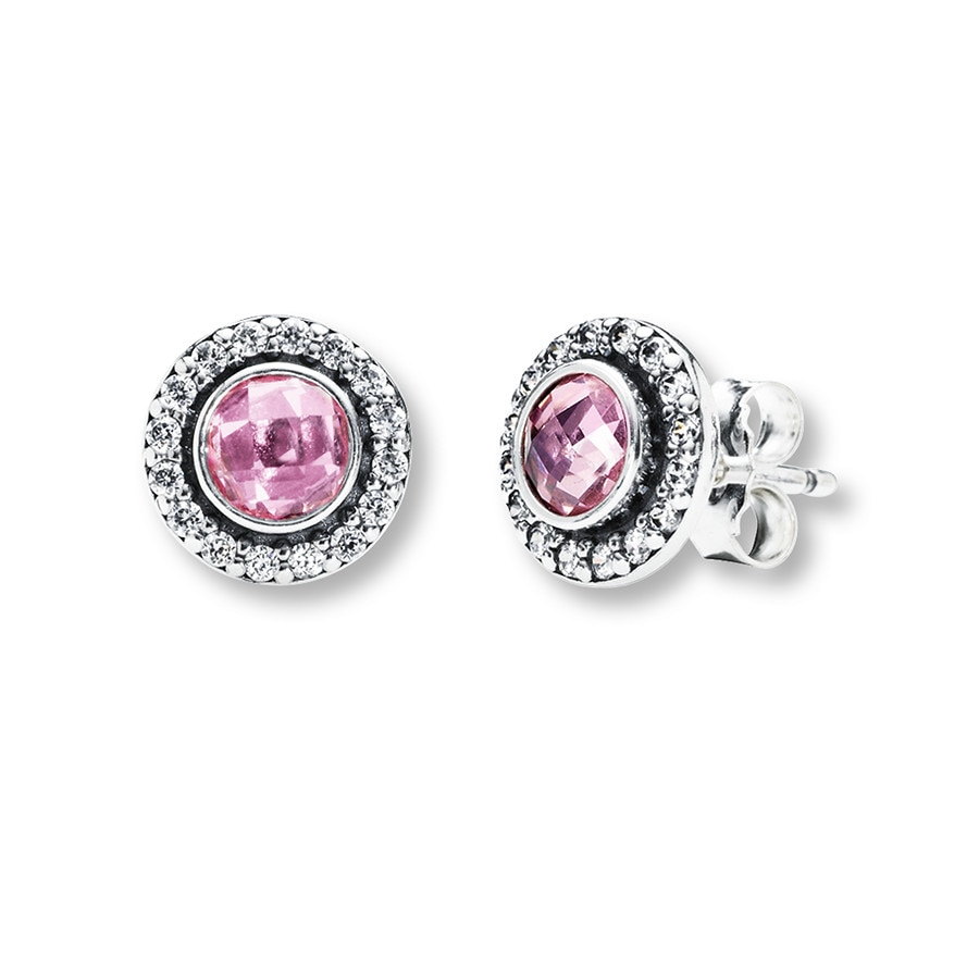 Pandora Earrings Silver: PANDORA Earrings Pink & Clear CZ Sterling Silver