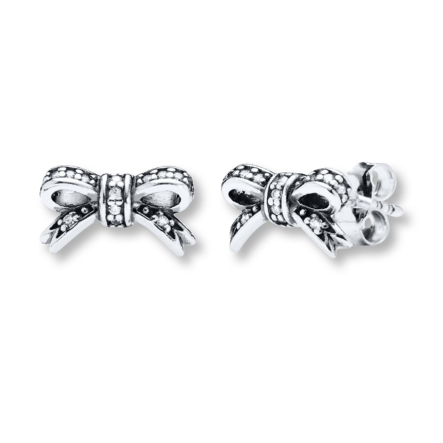 Pandora Earrings Silver: PANDORA Earrings Sparkling Bow Sterling Silver