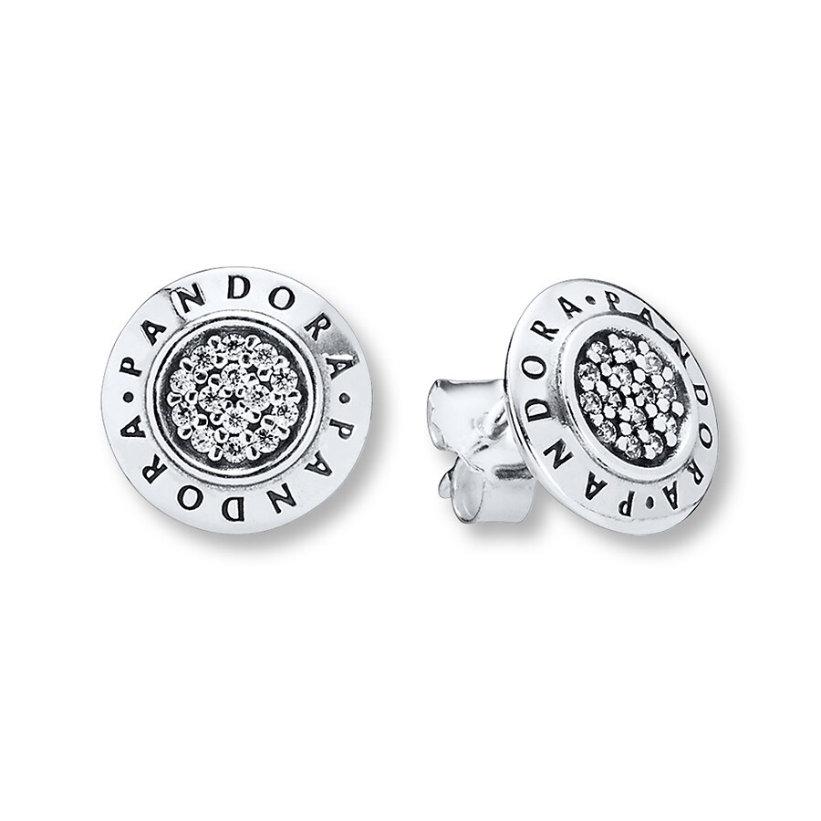 Pandora Earrings Silver: PANDORA Earrings Signature CZ Sterling Silver