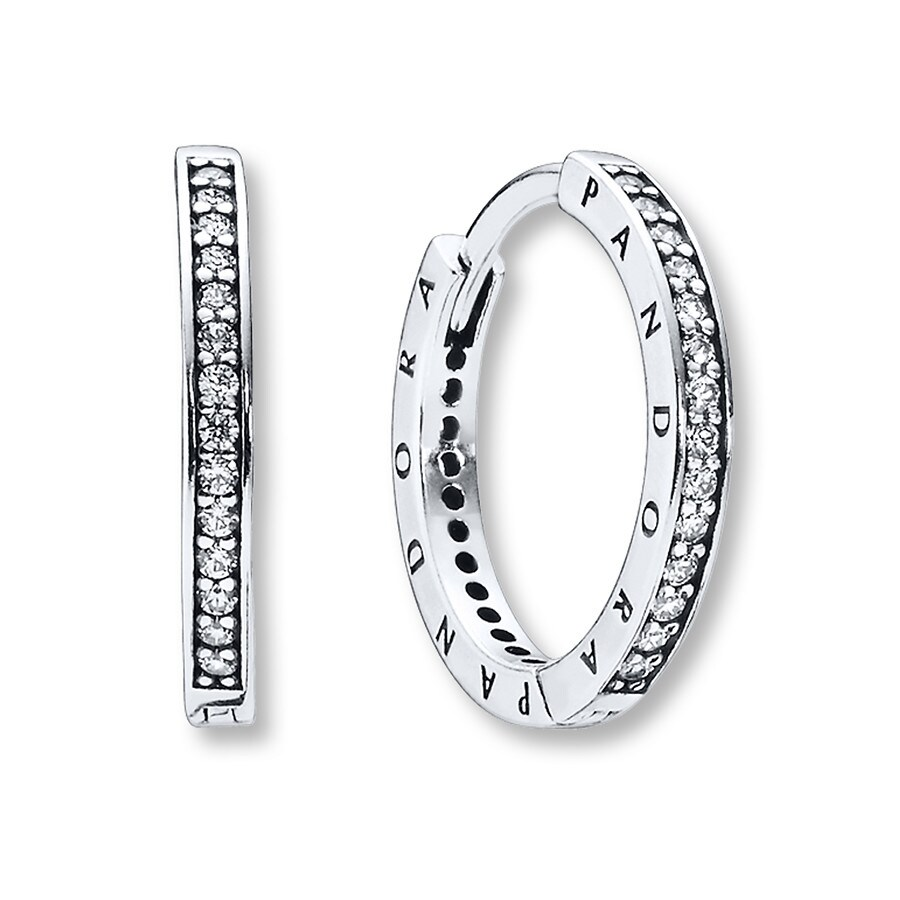4ab5ee848 PANDORA Hoop Earrings Signature CZ Sterling Silver. Stock #801965005 Write  A Review. Tap to expand