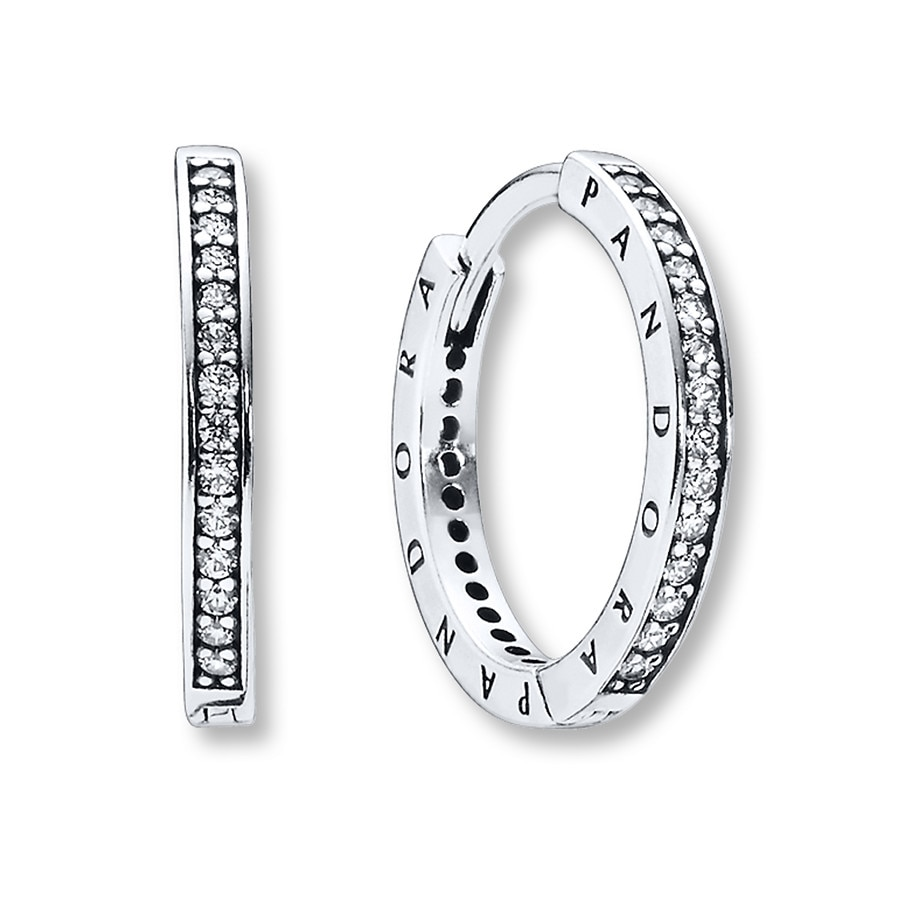Pandora Earrings Silver: PANDORA Hoop Earrings Signature CZ Sterling Silver