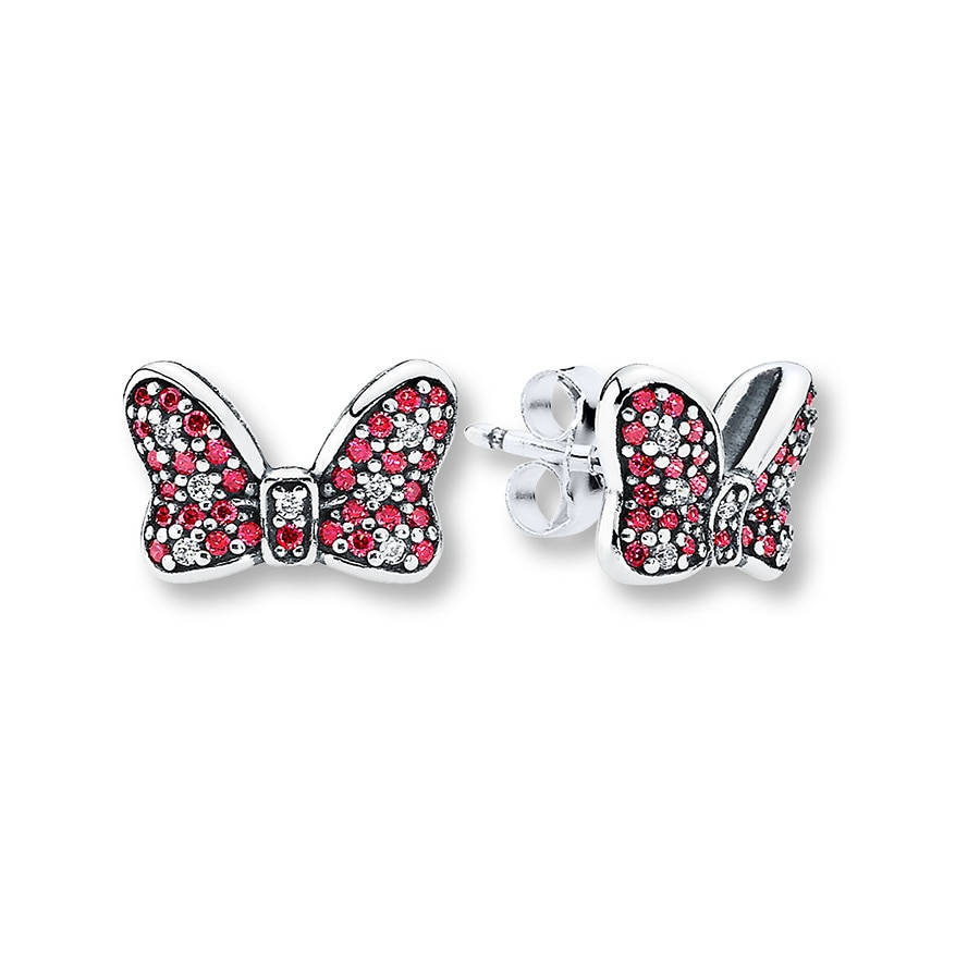 pandora disney earrings pandora earrings disney minnie s sparkling bow st silver 1008