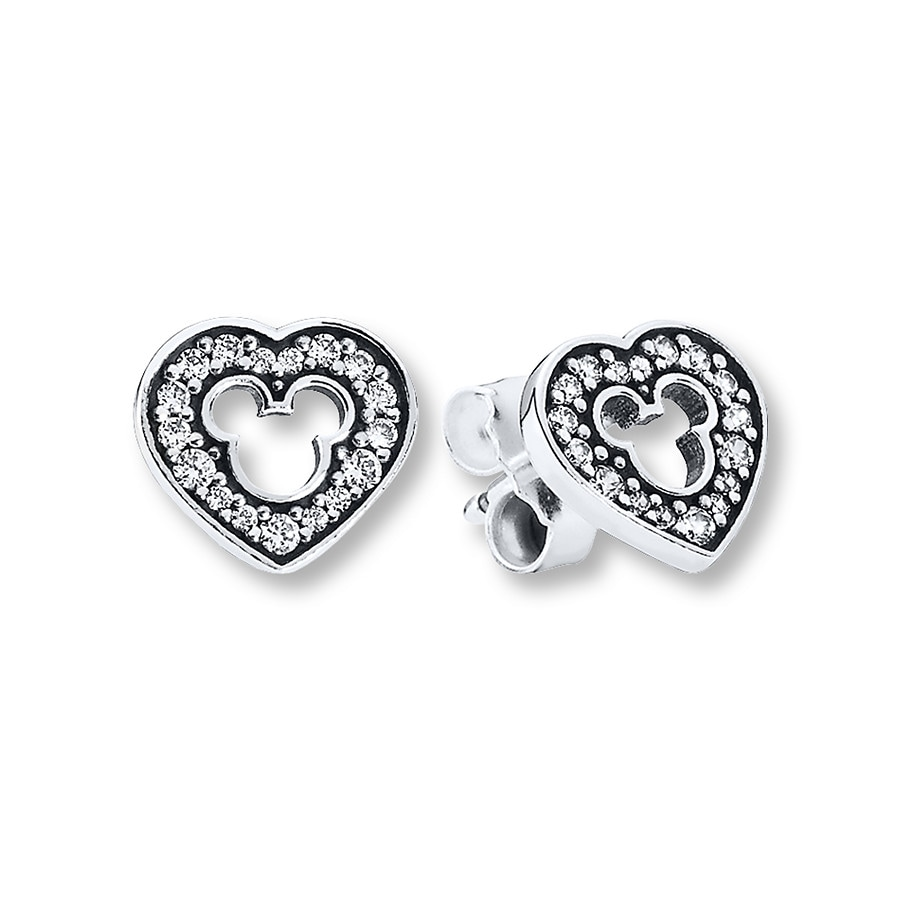 Pandora Earrings Silver: PANDORA Earrings Disney, Mickey Silhouette/St. Silver