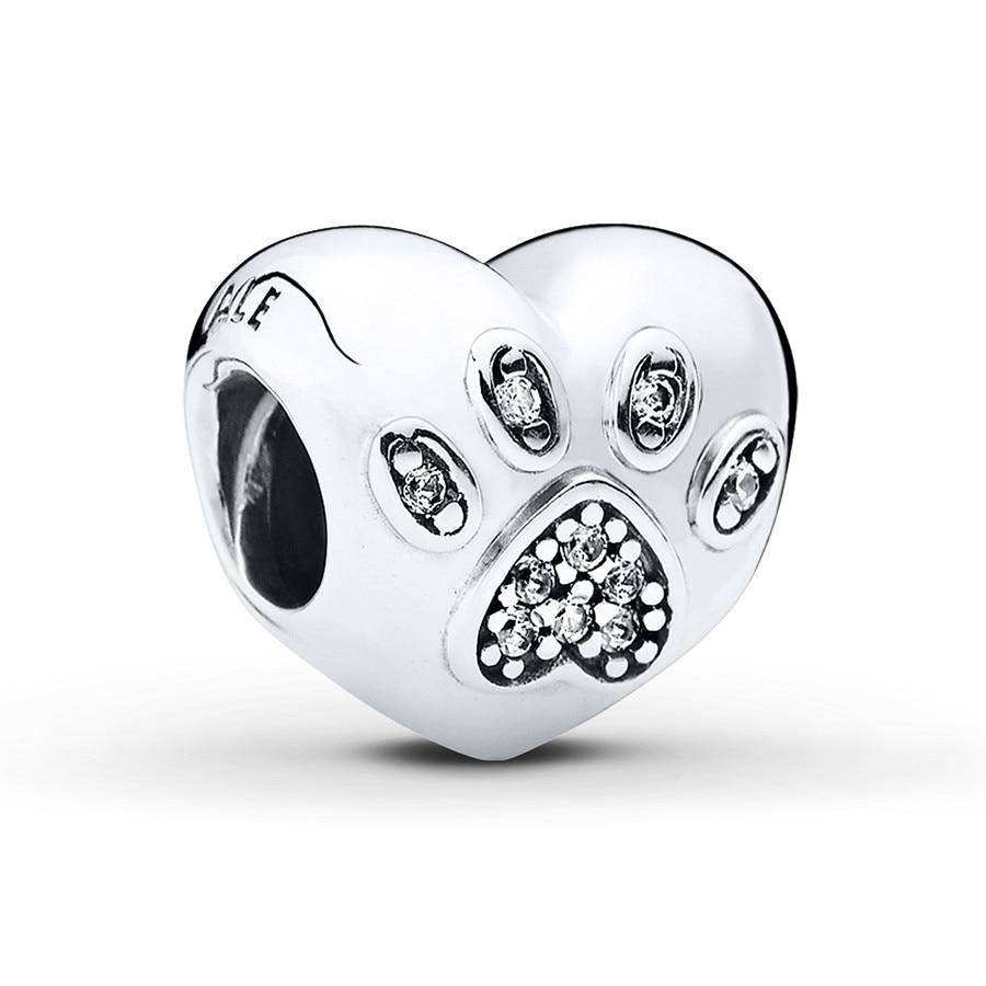 Jared PANDORA Charm Paw Print Heart Sterling Silver