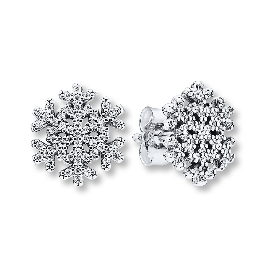 Pandora Earrings Silver: PANDORA Earrings Snowflakes Sterling Silver