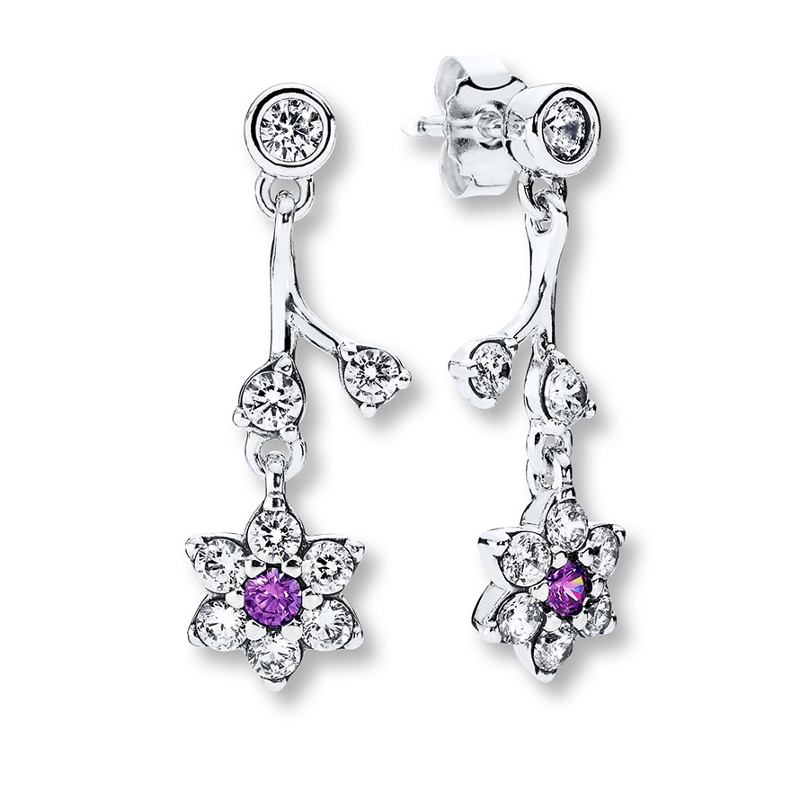 Pandora Drop Earrings: PANDORA Dangle Earrings Forget-Me-Not Sterling Silver