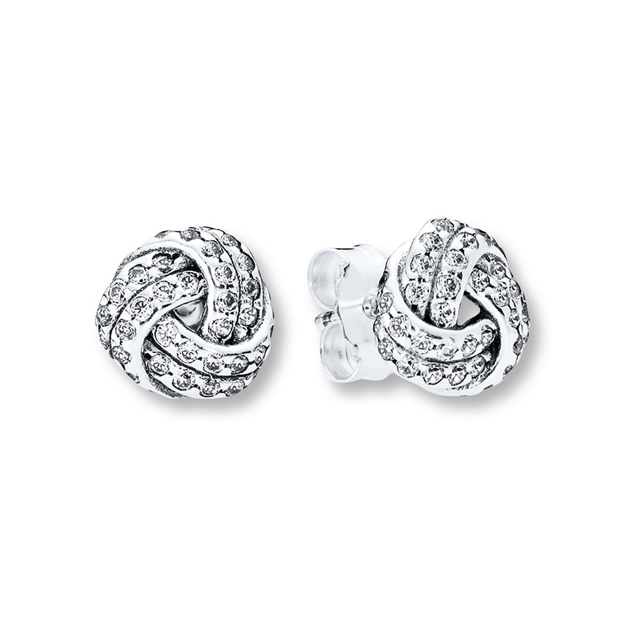 Pandora Earrings Silver: PANDORA Earrings Sparkling Love Knots Sterling Silver